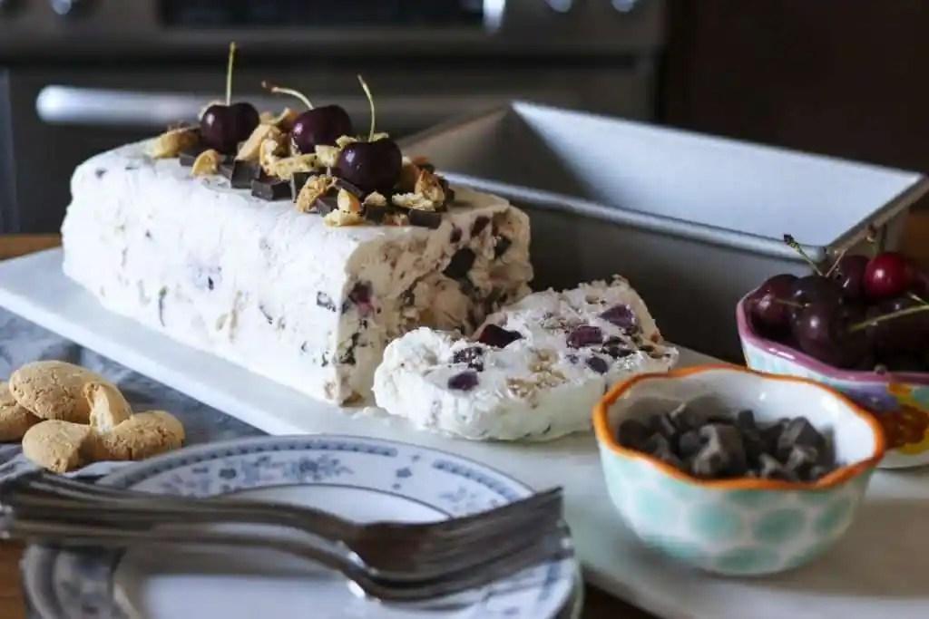 Julie Miguel Food Blogger of Daily Tiramisu Recipe for Amaretto Cherry Semifreddo
