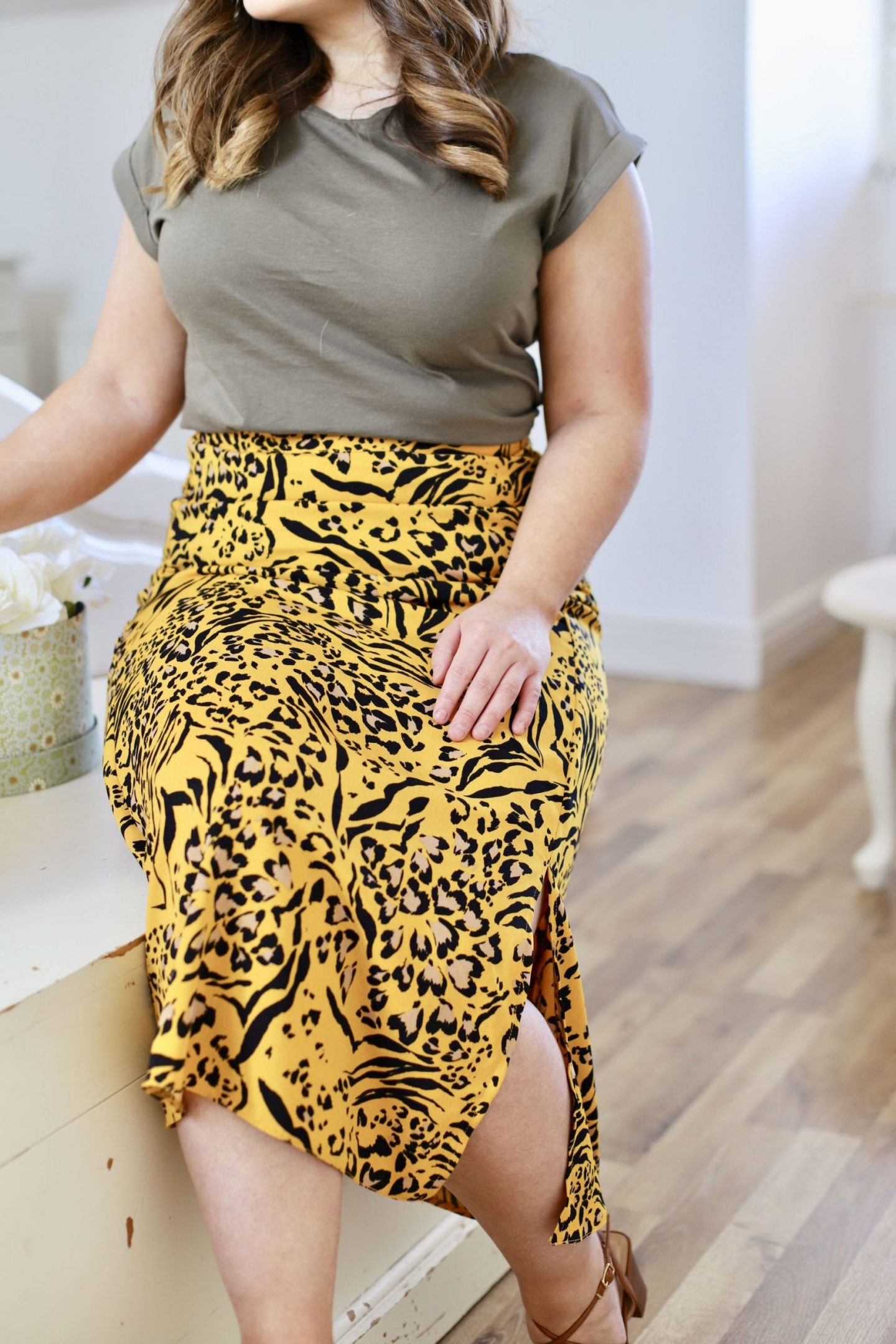 leopard midi skirt