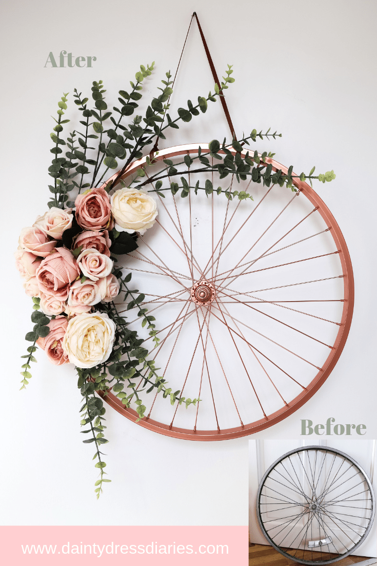 Repurpose and Recycle a bike wheel into a wreath , daintydressdiaries.com