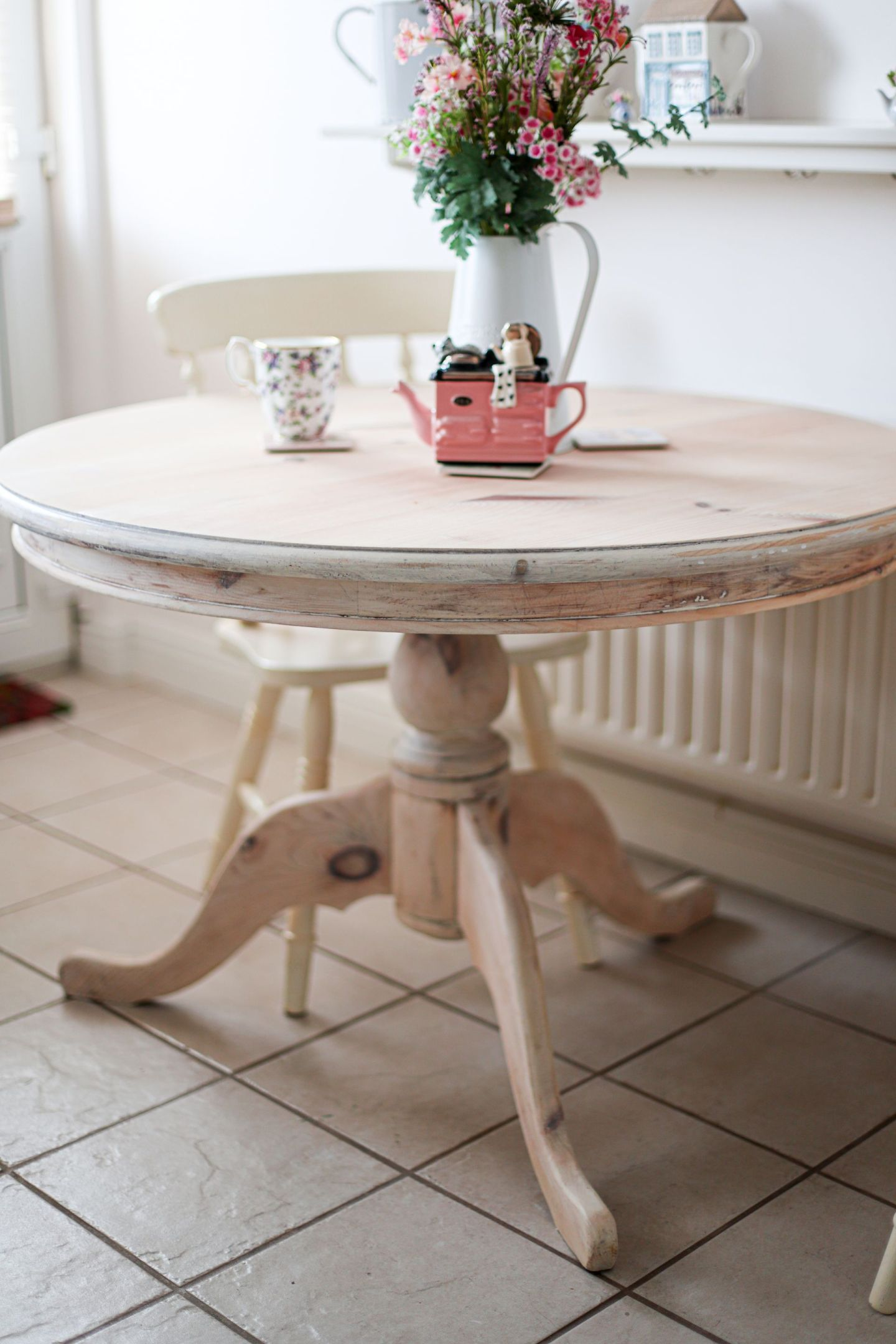 Whitewashed farmhouse kitchen table