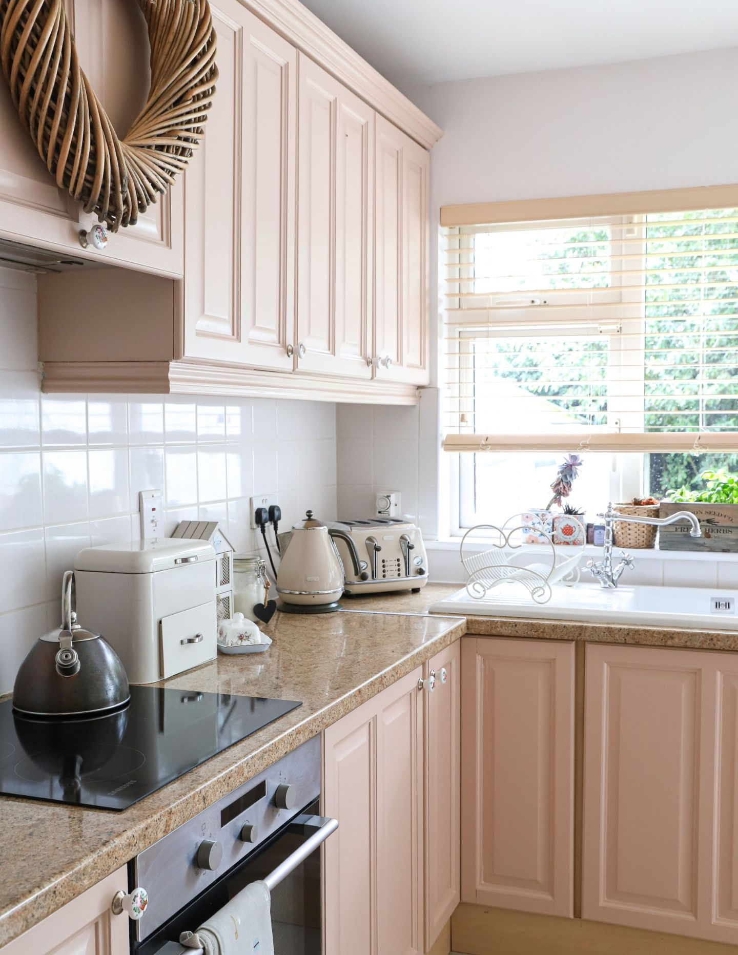 Pink Kitchen Cabinet makeover Farrow and Ball setting plaster