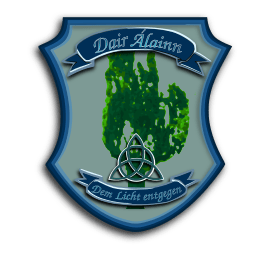 """Das Wappen von Dair Álainn steht dafür, der Wahrheit ins Auge zu sehen. """"Dem Licht entgegen"""" bedeuet für uns, nun ohne die Heidenakademie weiter zu machen."""