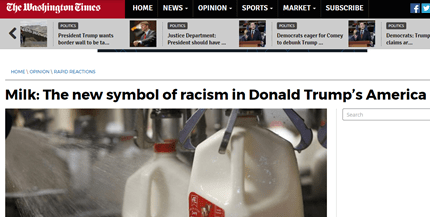Washington times milk racist