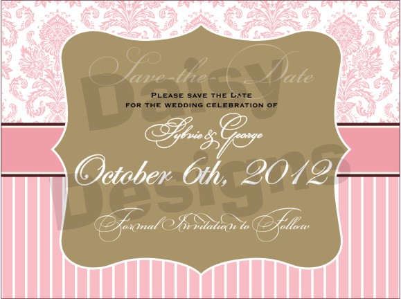 Light Pink Damask - Save the Date 1