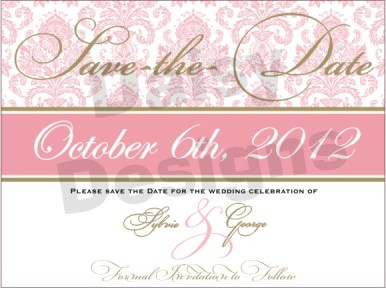 Light Pink Damask - Save the Date 2