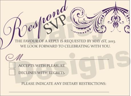 Wedding Floral Lace Purple Rsvp