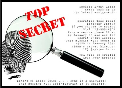 Secret Agent Party Invite