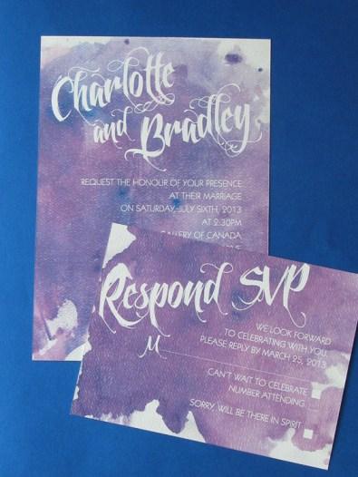 Watercolour Wonder Purple Invite and RSVP