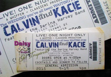 Concert Ticket blue on gold