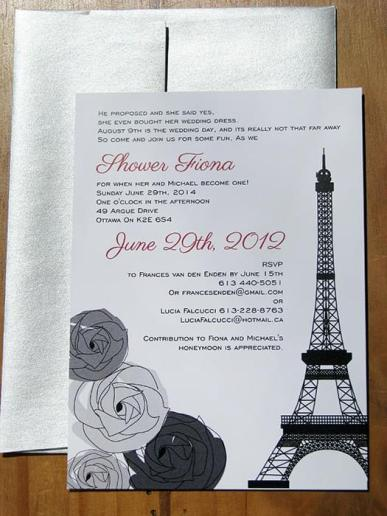Eiffel Tower Shower Invitation