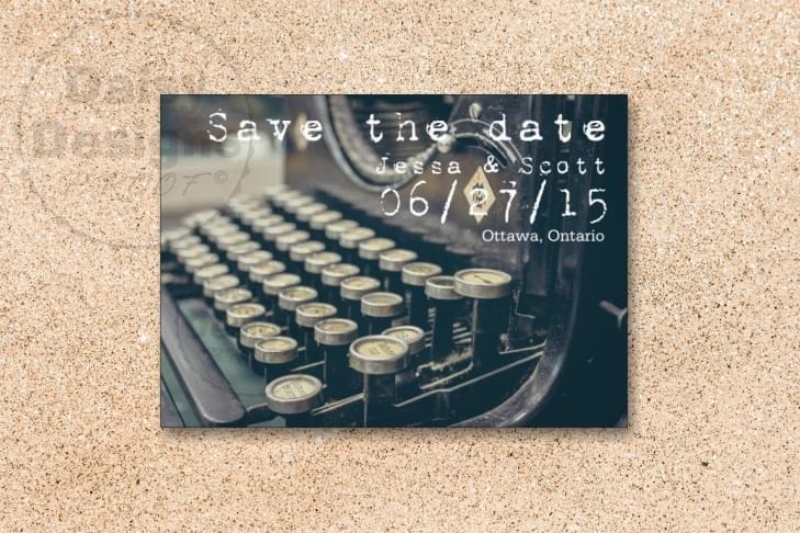Typewriter Save the Date card