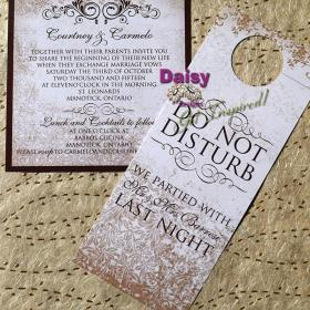 Antique Gold Invite and Door Hanger