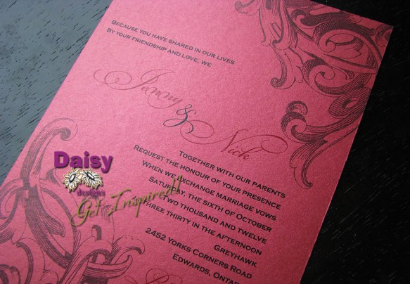 Corner Filigree on Metallic Invite