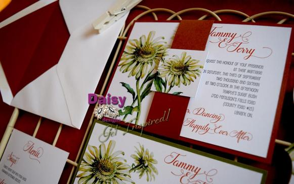 Double Daisy invite burgundy belly-band