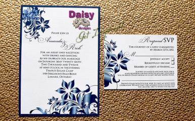 Navy Blossoms invite set