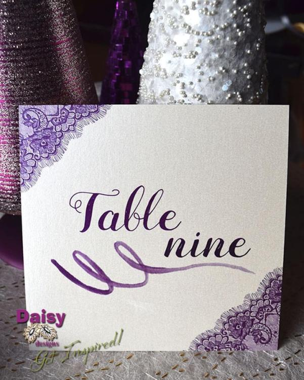 majestic purple lace table number closeup