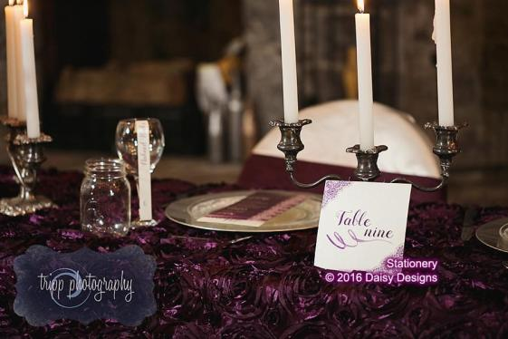 table with majestic purple lace number