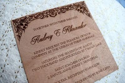 Laser-Etched Wood Veneer Invitation