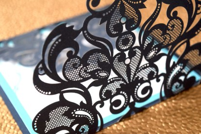 Laser-Cut Blue Gate-fold Close Up