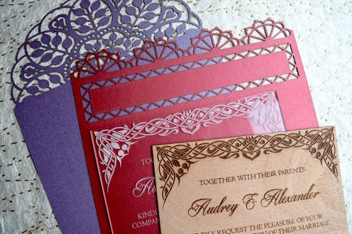 variety of laser-cut invitations
