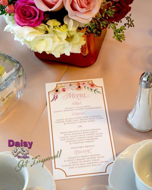 Blush Champagne Table Menu
