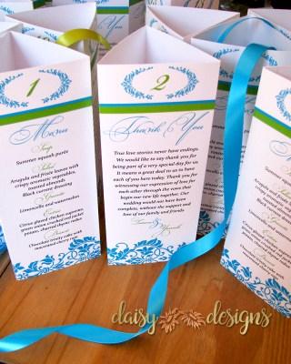 Blue Damask table menus