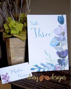 Devine table numbers and seating cards
