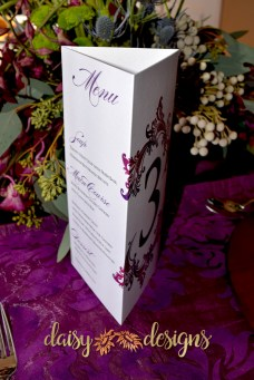 simply blended menu and table number