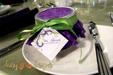 mason jar tag with purple and green graphics and text