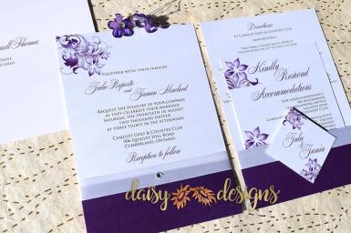 Amaranthine Blossoms invite rsvp and insert