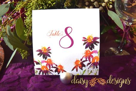 Saffron Daisy Table Number