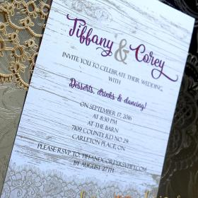 Faux Rustic Lace Wedding Invites