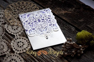 Laser Lace Lavender invite and rsvp in closed pocket