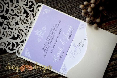 Laser Lace Lavender invite and rsvp in pocket