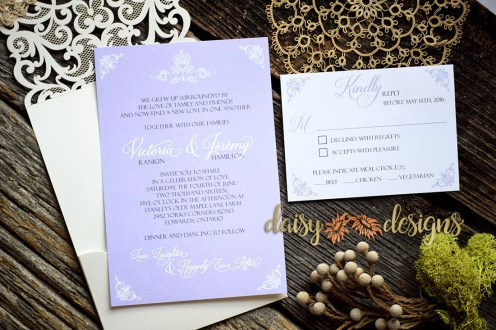 Laser Lace Lavender invite and rsvp