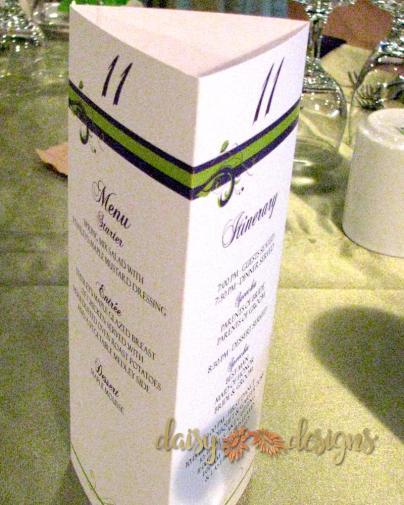 Purple Green Menu / Table number