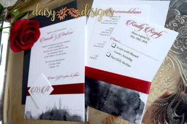 Scarlet Skyline invite with ribbon