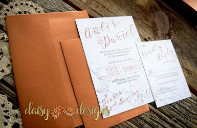 Marble Copper invitation and rsvp with optional copper metallic envelopes