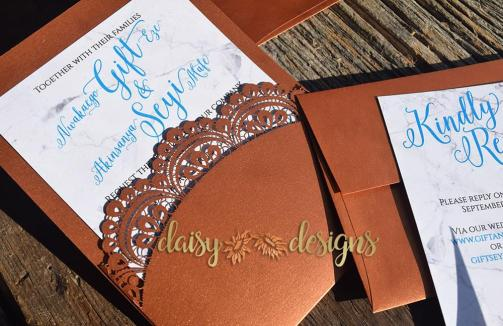 Marble Copper Teal curved laser cut pouch