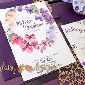 Orchid Wreath Wedding Invitation Set