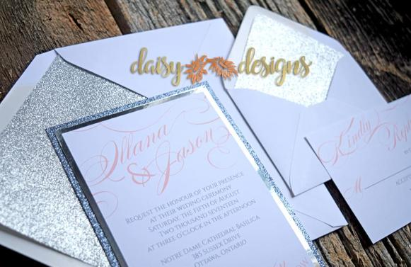 Silver Mirri wedding invitation layered on silver and platinum metallic paper, rsvp and envelopes with metallic liners