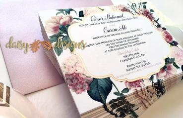 Blush and Gold Blossoms invites