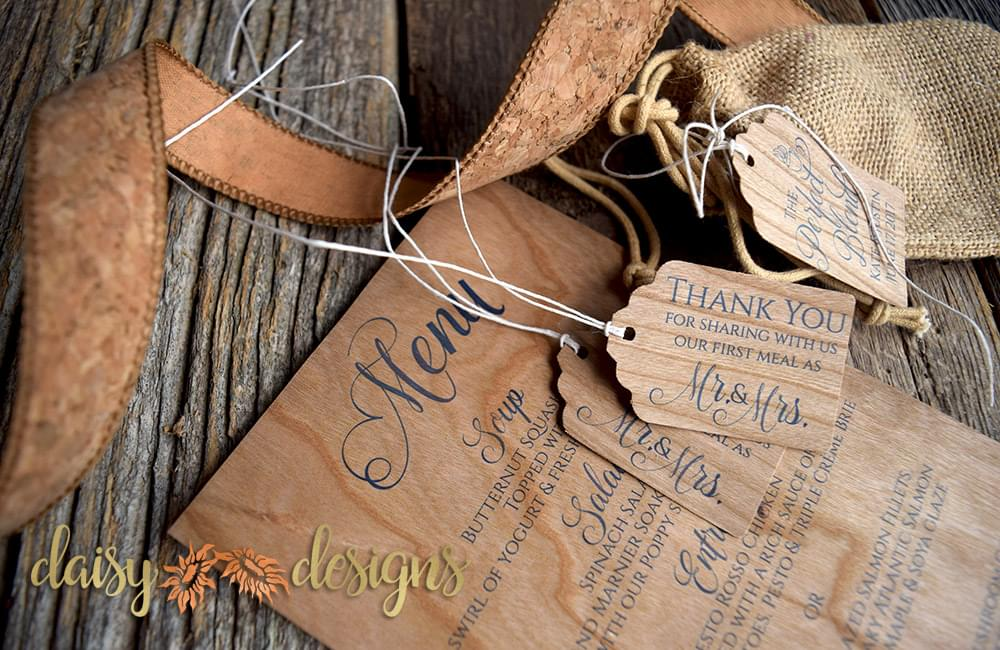 Real Wood Veneer Menus and Gift tags