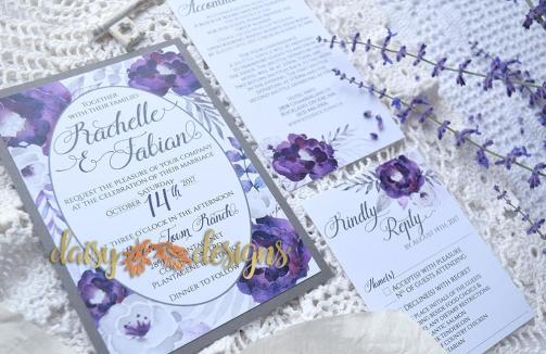 Purple Silver invite, rsvp and optional insert card