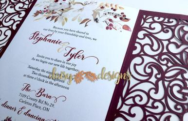 Cranberry and Cream laser cut invite close-up