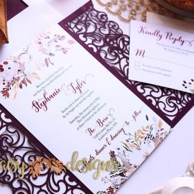 Cranberry and Cream laser cut invite and rsvp