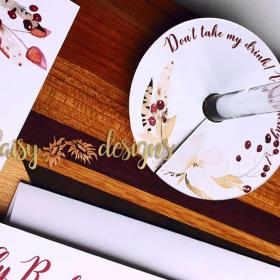 Cranberry and Cream wine glass tag