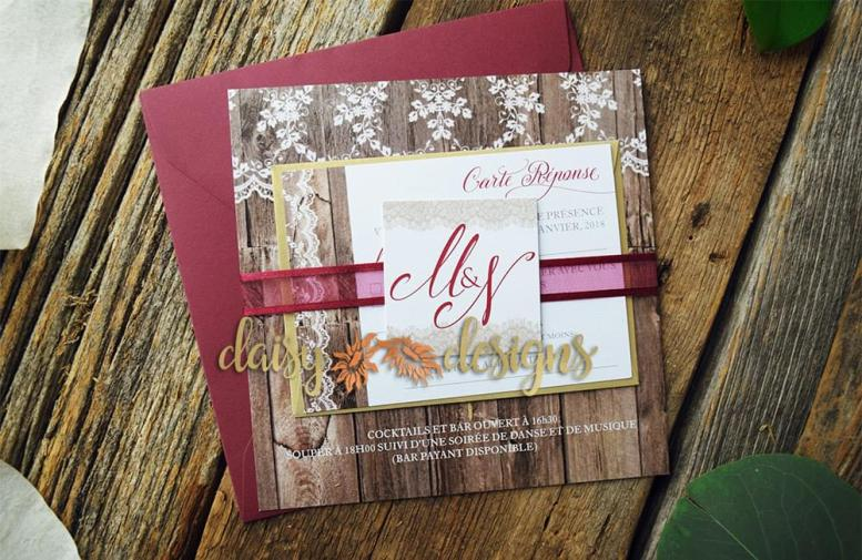 Antique Lacewood invite with belly band