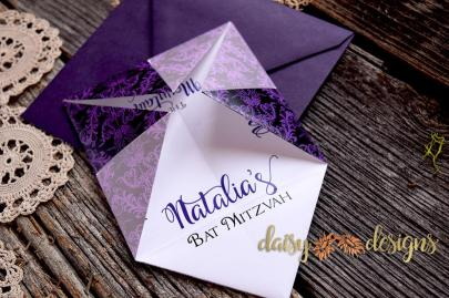 Damask Fortune Teller invite opened