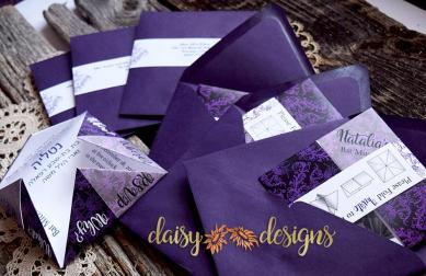 Damask Fortune Teller invites and envelopes